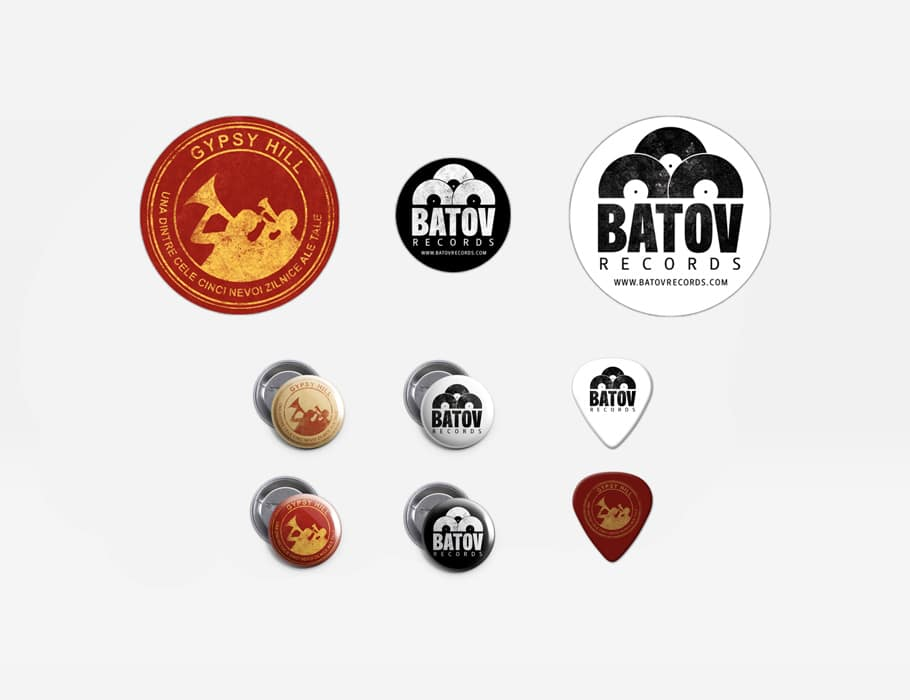 4 Badges, 3 Stickers and 2 Plectrums